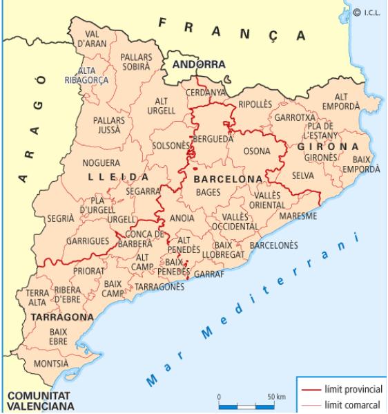 Organitzaci poltica i territorial de Catalunya  Geografia El