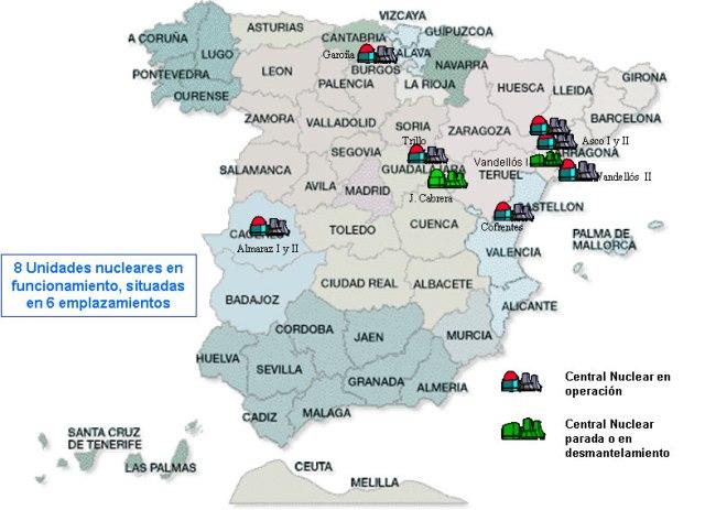 Mapa de les centrals nuclears espanyoles. Font: Ministerio de energía, industria y turismo. [en línia] [Consulta: 21/09/2015]