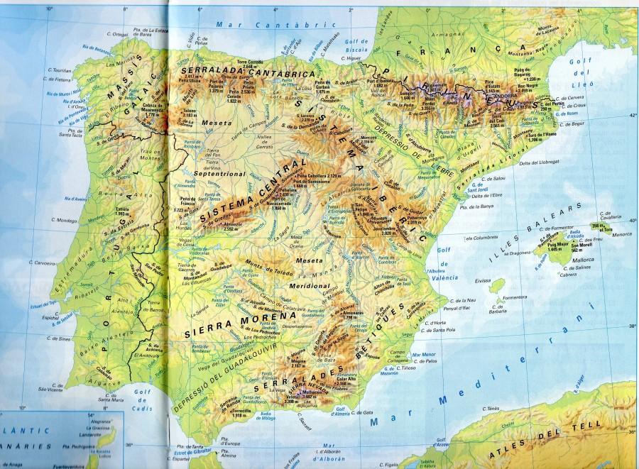 Mapa Fisic Del Mon.Mapa Fisic Espanya Geografia El Bloc De 2n De Batxillerat