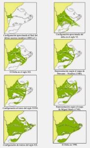 Evolució del Delta de l'Ebre. Adaptat de Canicio i Ibañez (1999). Font: http://aquaproomnibus.blogspot.com.es/ [Consulta: 22/06/2016]