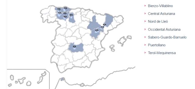 Mapa conques mineres Espanya. Font: http://www.irmc.es/r [Consulta: 22/06/2016]