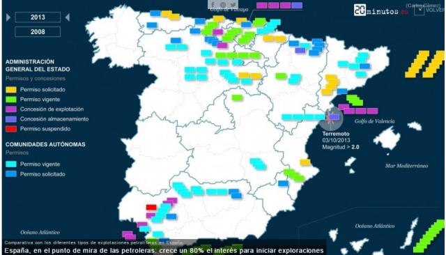Mapa explotacions petroleres Espanya 2013. Font: http://www.20minutos.es/ [Consulta: 23/06/2016]