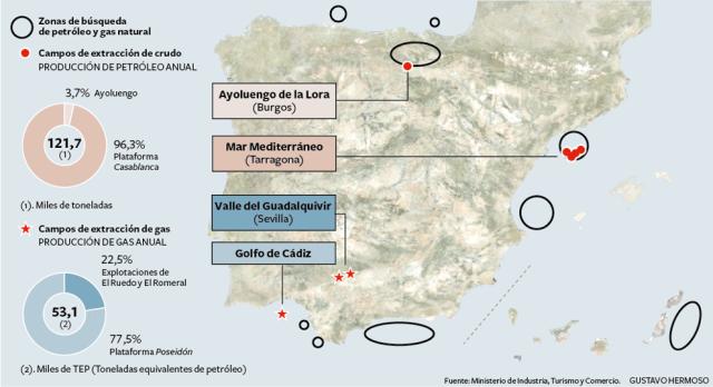 Mapa hidrocarburs Espanya. 2011. Font: http://elpais.com/elpais/ [Consulta: 23/06/2016]