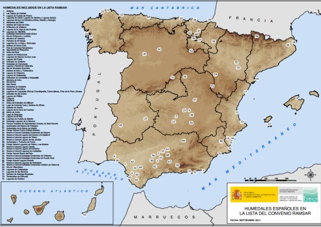 Zones humides d'Espanya incloses en la llista Ramsar. Font: http://www.magrama.gob.es/ [Consulta: 22/06/2016]