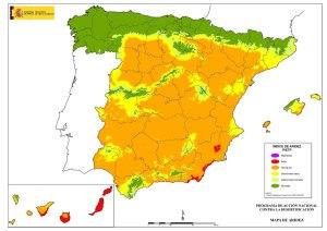 Mapa de l'aridesa a Espanya. Font: Ministeri d'Agricultura, Alimentació i Medi Ambient. http://www.magrama.gob.es/ [Consulta: 06/07/2016]