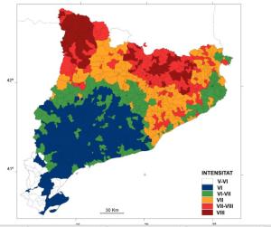 Mapa intensitat sísmica Catalunya. Font: http://interior.gencat.cat/ [Consulta: 06/07/2016]