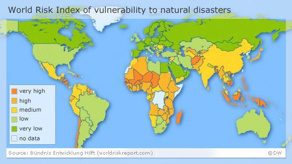Mapa de vulnerabilitat davant els riscos naturals. Font: http://www.dw.com/ [Consulta: 06/07/2016]