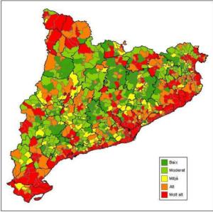 Mapa risc inundació Catalunya. 2014 Font: http://interior.gencat.cat/ [Consulta: 06/07/2016]