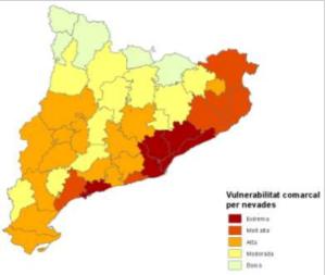 Mapa risc nevades Catalunya. 2015. Font: http://interior.gencat.cat/ [Consulta: 06/07/2016]