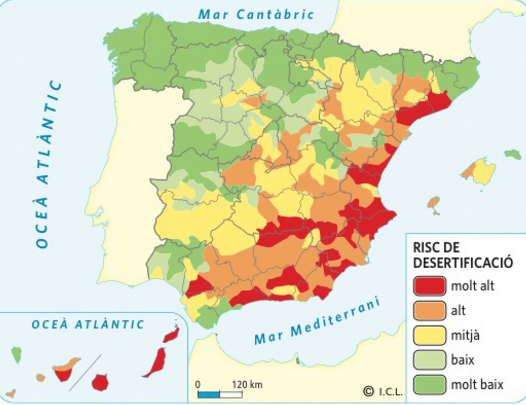 Mapa desertització Espanya 2016. Font: Geografia. Batxillerat. Vicens Vives. 2016. Font original: Ministeri d'Agricultura, Alimentació i Medi Ambient.