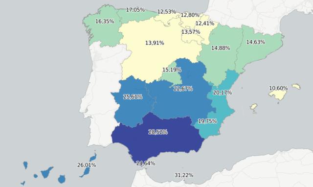 Taxa d'atur per Comunitats Autònomes. 2016. Font: Cinco Días (09/01/2017) [Consulta: 09/01/2017]