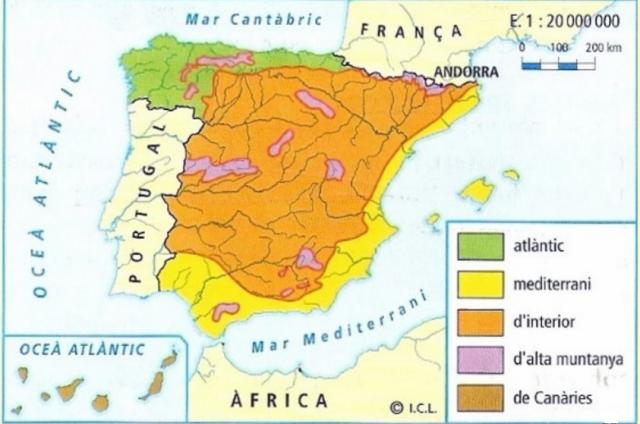 Paisatges agraris d'Espanya. Font: Geografia Batrxillerat. Vicens Vives